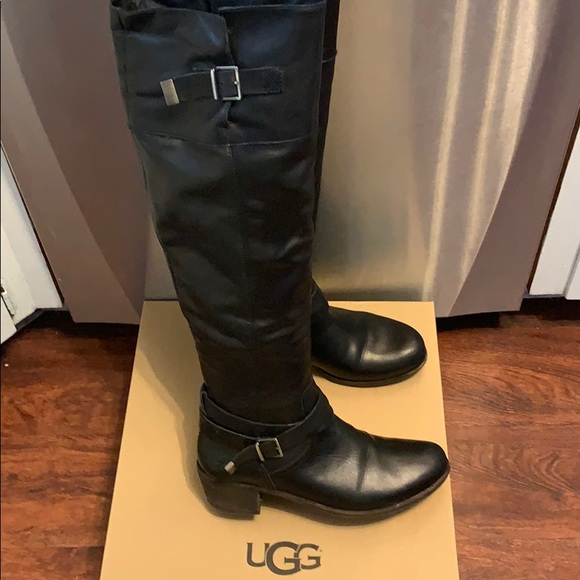 9c29ce24a31 Ugg Bess over the knee black leather boots